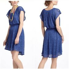 7dc0084b97d61 Anthropologie Leifnotes Blue Pointelle Lace High-Low Smocked Mini Dress M 8  10