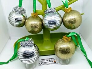 6 x 65mm 1970s shatterproof vintage baubles gold silver Christmas decorations