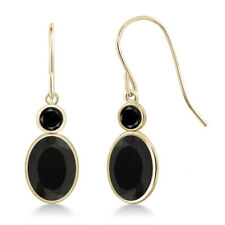 2.42 Ct Oval Black Onyx Black Diamond 14K Yellow Gold Earrings