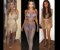 Women Sparkly Evening Dress Metallic Knit Party Blouse Bodycon Wrap Top Cardigan