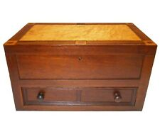 MID-19TH C AMERICAN FOLK ART ANTIQUE FGRD MAPLE/MAHOGANY SAILOR'S ART WOOD CHEST