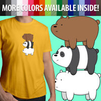 We Bare Bears Stack Grizzly Panda Ice Bear Cartoon Unisex Mens Tee Crew T-Shirt