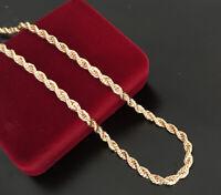 Luxus Damen Herren lange Kordelkette 4mm Halskette Rosegold vergoldet 70 cm