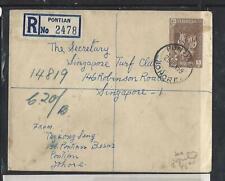 MALAYA JOHORE (P1709B) 1599 10C TIGER FED+10CX2 REG PONTIAN   TO SINGAPORE