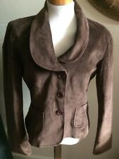 VINTAGE  60s-70s  CABAVERA BROWN SCOOP COLLAR VELVET JACKET M