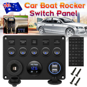 12V Rocker Switch Panel 5 Gang ON-OFF Toggle Waterproof Boat Marine USB Charger
