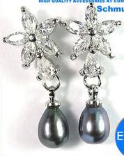 Silver Black Fresh Water Pearl & C.Z Flower Drop Stud Earrings