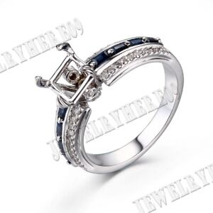 7x7mm Cushion Sapphire Natural Diamond Semi Mount Solid 18K White Gold Gift Ring
