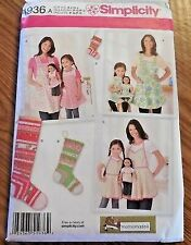 Simplicity Pattern 1936 Adult Child & Doll Matching Aprons 18 Inch Dolls