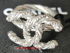 AUTHENTIC CHANEL CC Logo Ring Silver Crystal Classic Twisted New SOLD-OUT Rare