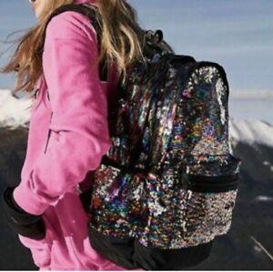 Victoria's Secret Pink Campus Backpack Bling Sequins Rainbow 🌈  Super Cute!!!