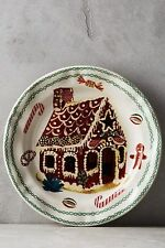 4 Anthropologie Christmas Nathalie Lete Holiday GIngerbread House Dinner Plates