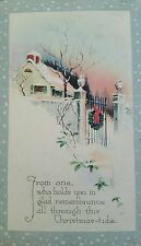 Postcard Christmas 1920 Holiday Gibson Art Company Snow Wreath Home
