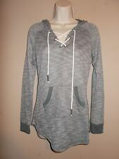 Arizona Jeans Womens Size M Gray & White Tweed Long Sleeve Hoodie