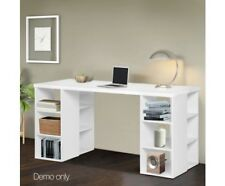 Computer Desk with Bookcase 6 Open Shelves White storage Storage office NEW