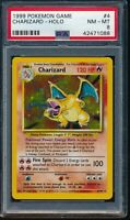 PSA 8 CHARIZARD 1999 Pokemon Base Unlimited #4/102 Holo Non-Shadowless NM-MINT