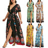 Plus Size Fashion Women Butterfly Printed V-Neck Short Sleeve Casual Long Dress