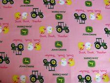 John Deere Tractor Farm Machines Ducks Quacks Pink on Cotton Fabric By The Yard