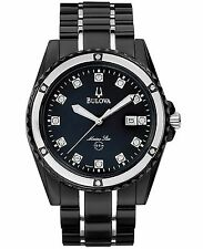 Bulova Men's 98D107 Marine Star Quartz Diamond Accents Black 42mm Bracelet Watch