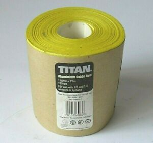 TITAN ALUMINIUM OXIDE  ROLL 115mm x 25 M 120 Grit Sand Paper