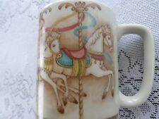Otagiri Carousel Horses Decorative Coffee Mug Cup Japan Hobby Horse Tan Pink