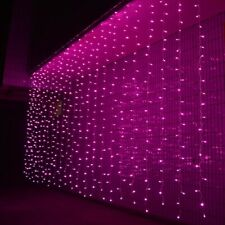 Pink 3Mx3M 300 LED Fairy String Light Curtain Xmas Wedding Party Home