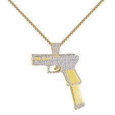 Mens Pistol Gun Pendant 14K Yellow Gold Tone Lab Diamonds Free Box Necklace