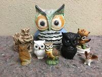Lot Of 8 Owl Figurines-Nice Mix