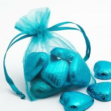 TURQUOISE Luxury ORGANZA Favour Bags x10 Pieces - Wedding Gift Pouches - 12x17cm