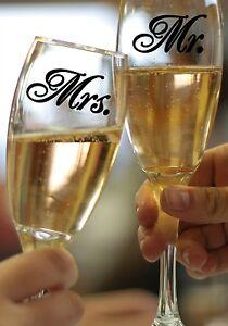 """MR & MRS Wedding Glass Design Vinyl Sticker Decal Set 1.5""""h x 2.5""""w each"""
