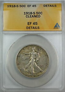 1918-S Walking Liberty Silver Half Dollar, ANACS EF-45 Details, Cleaned Coin