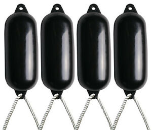 4 X Majoni Black Boat Fenders (Inflated) - Size 5 + Free Rope