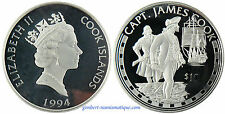 COOK  ISLANDS  ,  JAMES  COOK , 10 DOLLAR  ARGENT  1994  PROOF  ,  FLEUR DE COIN