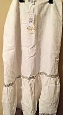 Ann Taylor Loft Skirt Petite SZ 2 WHITE LINEN EMBELLISHED NEW W/TAG