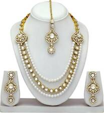 Choker Bollywood Indian Bridal & Wedding Necklace Earrings Jewelry Set Gold Tone