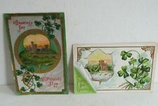 2 VTG 1914 POSTCARDS~St. Patrick's Day Card ~Green Bay, WI~Holy Cross Abbey~USED