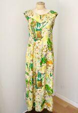 Vtg 60s Green Gold Feudal Japan Cotton Sateen Maxi Luau Hawaiian Dress Gown S