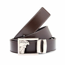 Versace Brown Leather Belt IT 110 CM Adjustable One Size Fits All V91003S