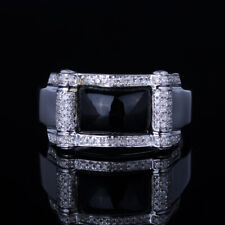 Generous Men's Jewelry Princess Genuine Agate Diamond Wedding Ring Silver 925