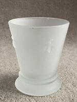 A Frosted Drink Glass With Decorative Bee Motif 10cm