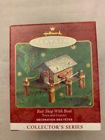 Hallmark Keepsake Ornament Bait Shop with Boat  Pressed Tin Litho 2000 Christmas