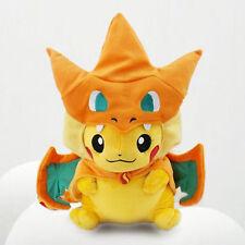 25CM Pokemon Pikachu With Mega Charizard Hat Soft Plush Doll Toy Children Gift