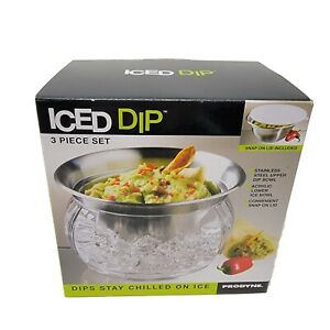 Iced Dip 3-Piece Set Stainless Steel Serving Bowl Guacamole Salsa Prodyne NEW