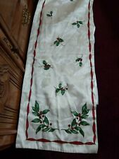 "Christmas Ivory Shiny Holly Berries Holiday Table Runner 68"" x 14"" Homemade"