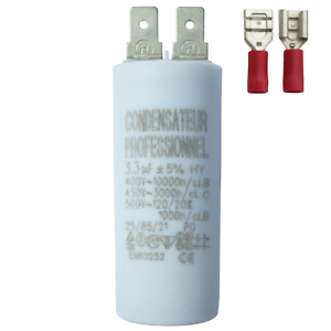 Condensateur 3,3 µF uF moteur hotte, store, volet, VMC, pompe, climatisation ...