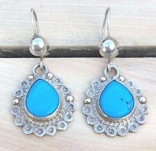 Vintage Native Mexican Sterling Silver Turquoise Earrings Mexico Teardrop Dangle