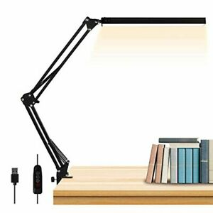 LED Desk Lamp Metal Swing Arm Desk Light wi/Clamp, Eye-Caring Architect Dimmable