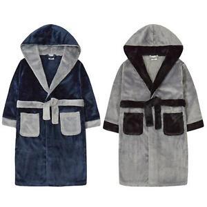 Childrens / Boys Contrast Trim Plush Fleece Dressing Gown - 7-13 Years