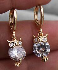 18K Yellow Gold Fille - Chic Owl Bird Topaz Gemstone Hoop Party Earrings Jewelry