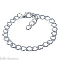 12 Silver Plated Lobster Clasp Link Chain Bracelet 20cm